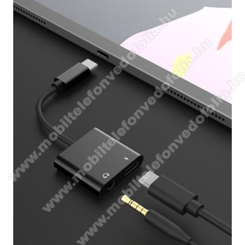 ZTE S30 SEAudio adapter - Type C / 3,5mm Jack + Type C töltő aljzattal, gyorstöltés támogatás, max QC 9V/2A, 12,5cm hosszú - FEKETE
