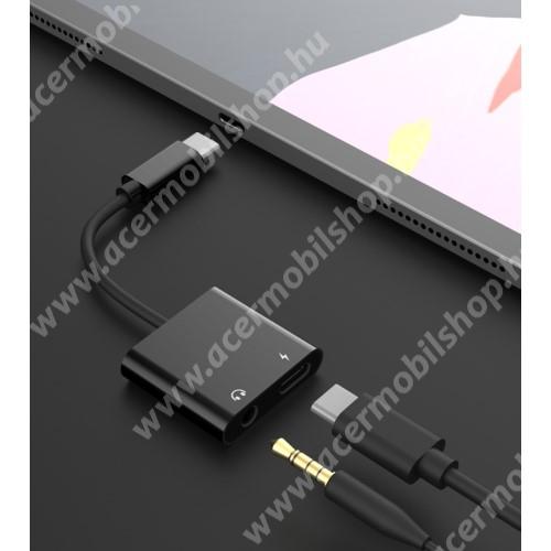 ACER Liquid Z220 Audio adapter - Type C / 3,5mm Jack + Type C töltő aljzattal, gyorstöltés támogatás, max QC 9V/2A, 12,5cm hosszú - FEKETE