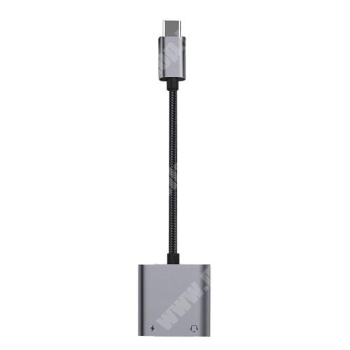 LG G4c (H525N) Audio adapter - Type C / 3,5mm Jack + Type C töltő aljzattal, PD3.0 60W gyorstöltés támogatás, 160mm hosszú - FEKETE