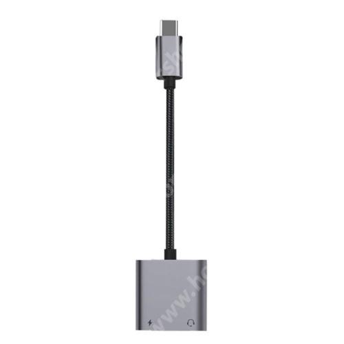 HUAWEI Honor V40 5G Audio adapter - Type C / 3,5mm Jack + Type C töltő aljzattal, PD3.0 60W gyorstöltés támogatás, 160mm hosszú - FEKETE