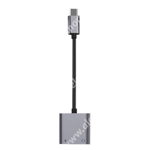 ALCATEL OT-208 Audio adapter - Type C / 3,5mm Jack + Type C töltő aljzattal, PD3.0 60W gyorstöltés támogatás, 160mm hosszú - FEKETE
