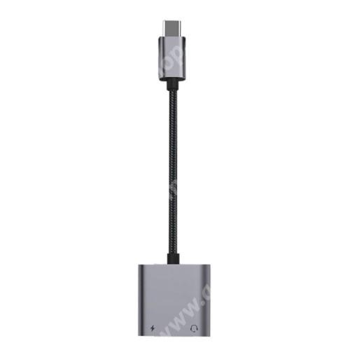 ACER Liquid Z3 Audio adapter - Type C / 3,5mm Jack + Type C töltő aljzattal, PD3.0 60W gyorstöltés támogatás, 160mm hosszú - FEKETE
