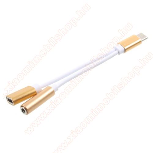 Audio adapter - Type C / 3,5mm Jack + Type C töltő aljzattal - FEHÉR / ARANY