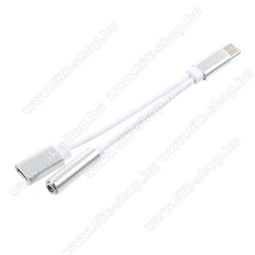 SAMSUNG Galaxy Tab Active Pro (Wi-Fi) (SM-T545)Audio adapter - Type C / 3,5mm Jack + Type C töltő aljzattal - FEHÉR / EZÜST