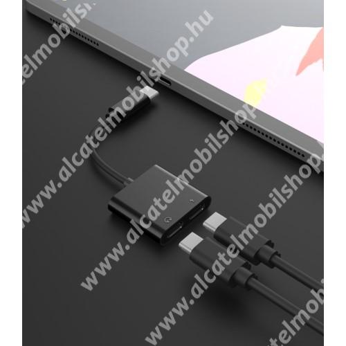 ALCATEL OT-208 Audio adapter - Type C / Type C digitális audio + Type C töltő aljzattal, gyorstöltés támogatás, max QC 9V/2A, 12,5cm hosszú - FEKETE