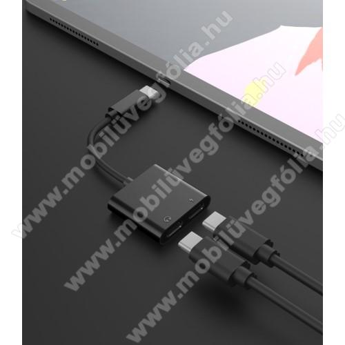 ALCATEL 1V (2020) (OT-5007U / OT-5007G / OT-5007A)Audio adapter - Type C / Type C digitális audio + Type C töltő aljzattal, gyorstöltés támogatás, max QC 9V/2A, 12,5cm hosszú - FEKETE