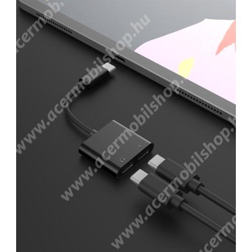 ACER Liquid Glow E330 Audio adapter - Type C / Type C digitális audio + Type C töltő aljzattal, gyorstöltés támogatás, max QC 9V/2A, 12,5cm hosszú - FEKETE