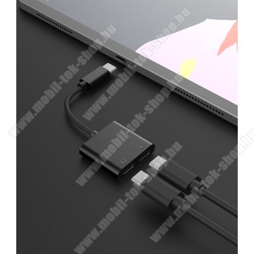Audio adapter - Type C / Type C digitális audio + Type C töltő aljzattal, gyorstöltés támogatás, max QC 9V/2A, 12,5cm hosszú - FEKETE