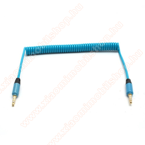 Audió kábel 2 x 3.5 mm, 4 pólusú jack csatlakozó, 0.35m, spirálkábel, AUX - KÉK