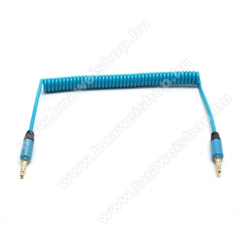 HUAWEI T-Mobile Pulse MiniAudió kábel 2 x 3.5 mm, 4 pólusú jack csatlakozó, 0.35m, spirálkábel, AUX - KÉK