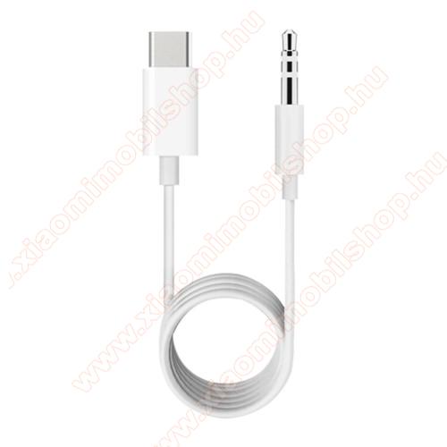 Audió kábel 3.5 mm jack / Type-C csatlakozó, 1m - FEHÉR