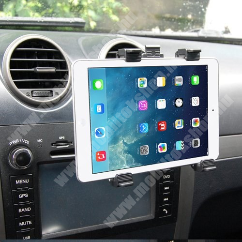 """HUAWEI MediaPad M3 8.4 Autós / gépkocsi TABLET PC tartó - szellőzőrácsra helyezhető - 142-250mm-ig állítható bölcső, 8-11""""-os készülékekig"""