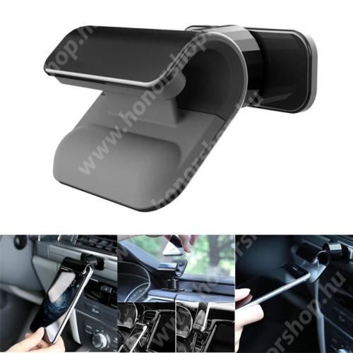 HUAWEI Honor V40 5G Autós / gépkocsi tartó - csiptetős, műszerfalra ragasztható, 360°-ban forgatható - FEKETE