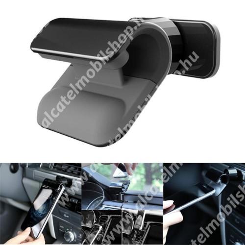 Autós / gépkocsi tartó - csiptetős, műszerfalra ragasztható, 360°-ban forgatható - FEKETE