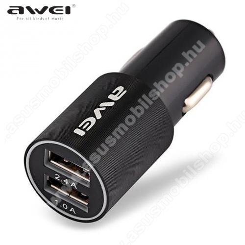 ASUS Zenfone 2 Laser (ZE500KL)AWEI C100 szivargyújtó töltő / autós töltő 2 x USB aljzat (5V/1000mA,5V/2400mA, gyorstöltés támogatás,kábel nélkül) FEKETE - C-100_B - GYÁRI
