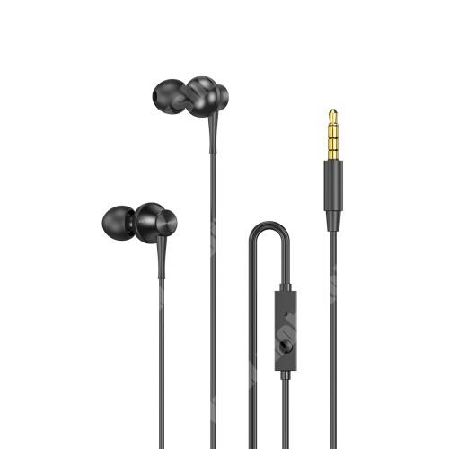 AWEI PC-1UNIVERZÁLIS sztereo headset - 3,5mm jack, mikrofon, felvevő gomb, zajszűrő, 1.2m hosszú vezeték - FEKETE - GYÁRI