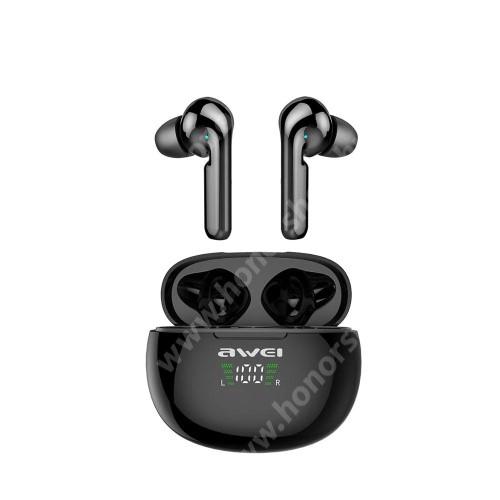 AWEI T15P TWS BLUETOOTH sztereó fülhallgató - V5.0, IPX5 vízállóság, mikrofon, 4-5 óra zenehallgatási idő, zajszűrő, 390mAh töltőtokkal, érintéssel vezérelhető, digitális kijelző - FEKETE - GYÁRI