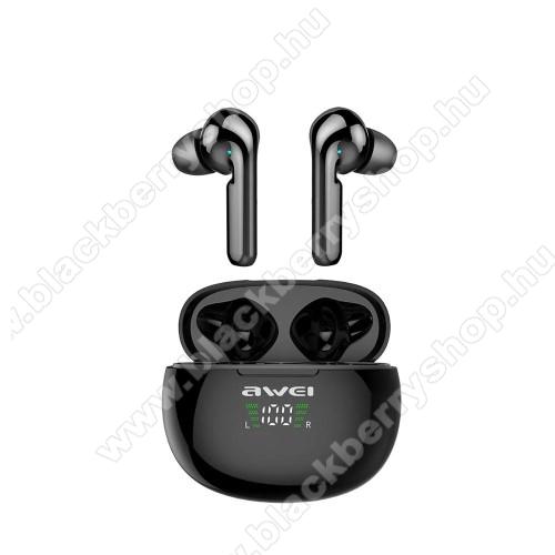 BLACKBERRY 8320 CurveAWEI T15P TWS BLUETOOTH sztereó fülhallgató - V5.0, IPX5 vízállóság, mikrofon, 4-5 óra zenehallgatási idő, zajszűrő, 390mAh töltőtokkal, érintéssel vezérelhető, digitális kijelző - FEKETE - GYÁRI