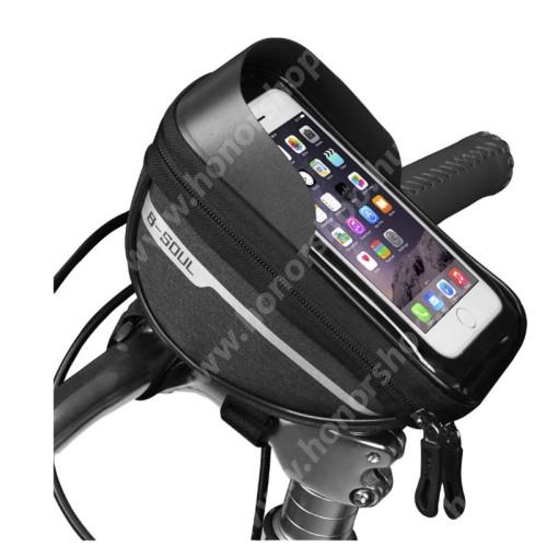 """HUAWEI Honor V40 5G B-SOUL UNIVERZÁLIS biciklis / kerékpáros tartó konzol mobiltelefon készülékekhez - cseppálló védő tokos kialakítás, cipzár, tépőzáras, napellenző, 6.4""""-os készülékekhez ajánlott - FEKETE - 175 x 95 x 85mm"""