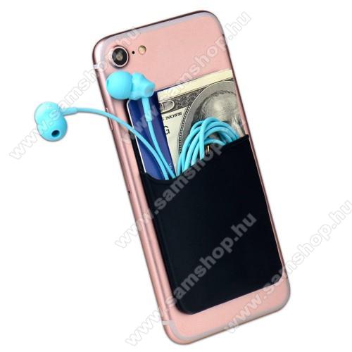 SAMSUNG SM-P600 Galaxy Note 10.1Bankkártyatartó, headset tartó zseb - készülékre ragasztható, 3M - FEKETE - 85 x 56 x 3mm