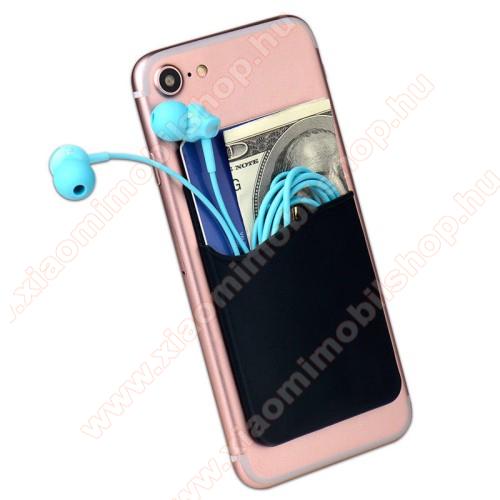 Bankkártyatartó, headset tartó zseb - készülékre ragasztható, 3M - FEKETE - 85 x 56 x 3mm