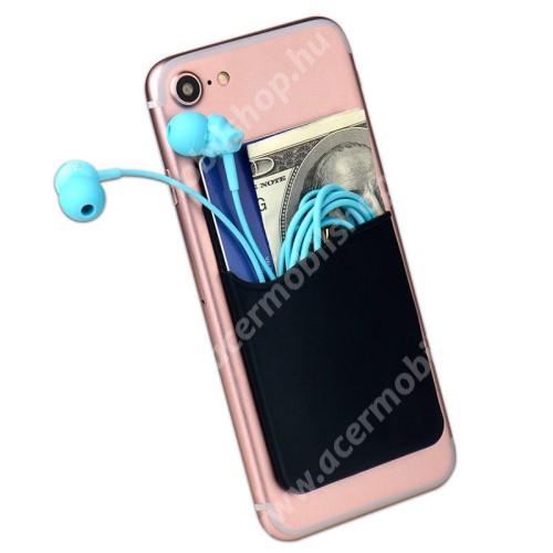 ACER Iconia Tab A211 Bankkártyatartó, headset tartó zseb - készülékre ragasztható, 3M - FEKETE - 85 x 56 x 3mm