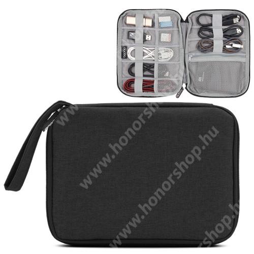 HUAWEI Honor V40 5G BAONA UNIVERZÁLIS tok / táska - FEKETE - szövet, fülhallgatók, kábelek, memóriakártyák, pendriveok számára ideális, cseppálló, hálós zsebek, cipzár, hordozható - 220 x 170 x 20mm