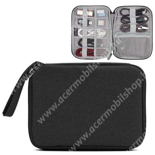 ACER Liquid Z3 BAONA UNIVERZÁLIS tok / táska - FEKETE - szövet, fülhallgatók, kábelek, memóriakártyák, pendriveok számára ideális, cseppálló, hálós zsebek, cipzár, hordozható - 220 x 170 x 20mm