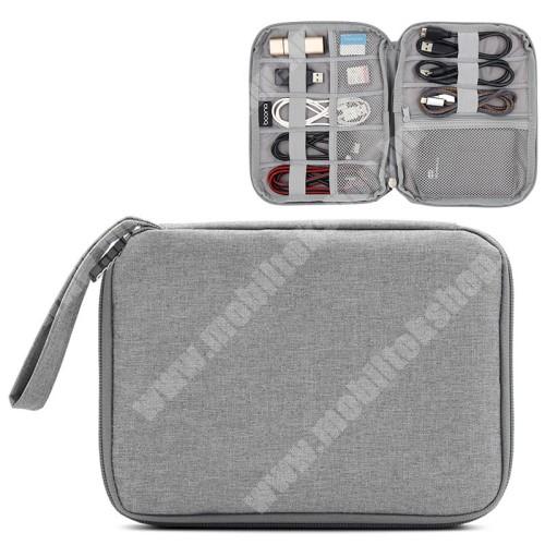 HomTom HT70 BAONA UNIVERZÁLIS tok / táska - SZÜRKE - szövet, fülhallgatók, kábelek, memóriakártyák, pendriveok számára ideális, cseppálló, hálós zsebek, cipzár, hordozható - 220 x 170 x 20mm