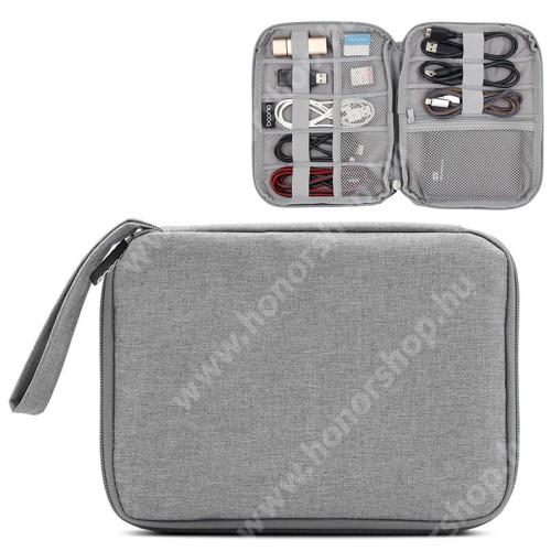 BAONA UNIVERZÁLIS tok / táska - SZÜRKE - szövet, fülhallgatók, kábelek, memóriakártyák, pendriveok számára ideális, cseppálló, hálós zsebek, cipzár, hordozható - 220 x 170 x 20mm