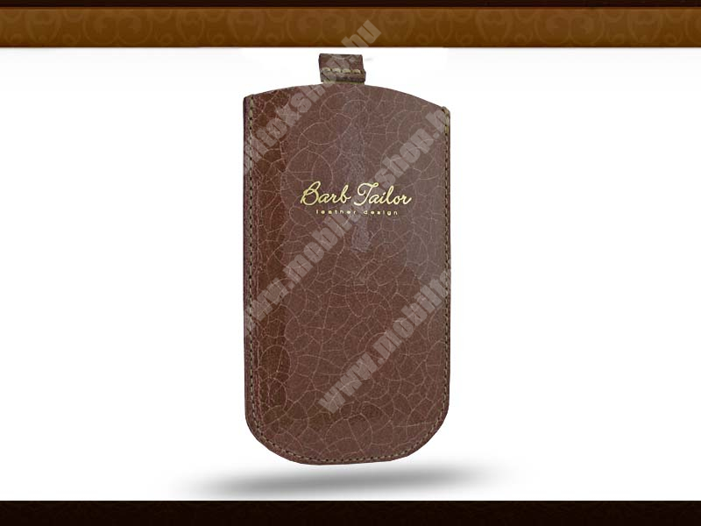 Barb Tailor Caffe Slim univerzális valódi bőrtok - Samsung S5230 Star/Nokia C5-03/X3-02 - világos barna