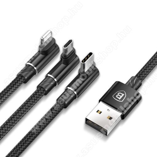 BASEUS 3 az 1-ben adatatátviteli kábel / USB töltő - USB Type-C, microUSB, Lightning / USB csatlakozás, 1.2m, 5V/3.5A, szövettel bevont, 90°-os derékszögű - FEKETE - GYÁRI