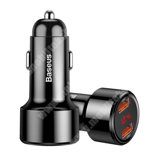 MOTOROLA Moto G4 BASEUS 45W szivargyújtós töltő / autós töltő - 2x USB aljzat: 4.5V/5A, 5V/4.5A, 9V/3A, 12V/3A, 20V/2.25A, USB1+USB2 5V/6A (max!), LED kijelző, kábel NÉLKÜL! - FEKETE - GYÁRI