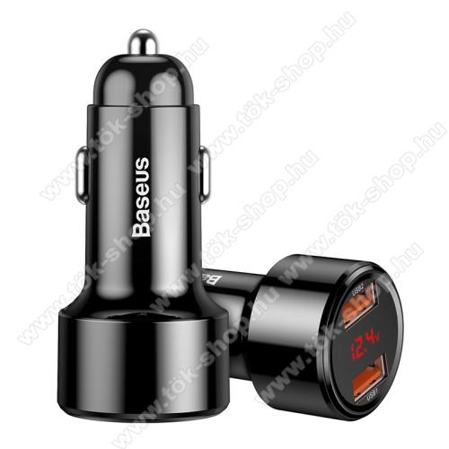 BASEUS 45W szivargyújtós töltő / autós töltő - 2x USB aljzat: 4.5V/5A, 5V/4.5A, 9V/3A, 12V/3A, 20V/2.25A, USB1+USB2 5V/6A (max!), LED kijelző, kábel NÉLKÜL! - FEKETE - GYÁRI