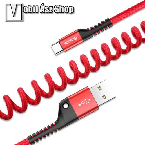 HUAWEI P9BASEUS adatátvitel adatkábel és USB töltő - spirál szövettel bevont kábel - USB / Type C, 100cm (max!), 2A - PIROS - GYÁRI