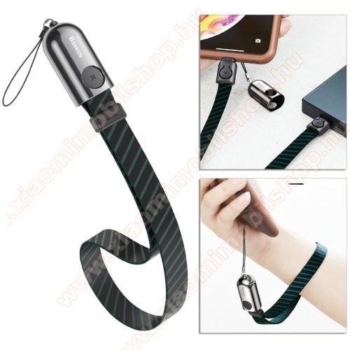 BASEUS adatátviteli kábel / USB töltő - Lightning, 2.4A, 35cm hosszú, csuklópánt, szövettel bevont - FEKETE - GYÁRI
