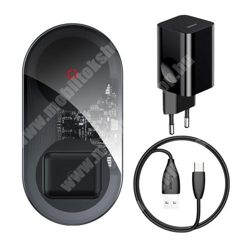 Meizu C9 BASEUS asztali töltő / dokkoló + Hálózati töltő 2 az 1-ben - QI Wireless vezetéknélküli töltő funkció, 24W, 2 tekercses, egyszerre két készülék tölthető vele, fogadóegység nélkül!, hálózati töltővel + Type-C kábel - FEKETE - BS-W508 - GYÁRI
