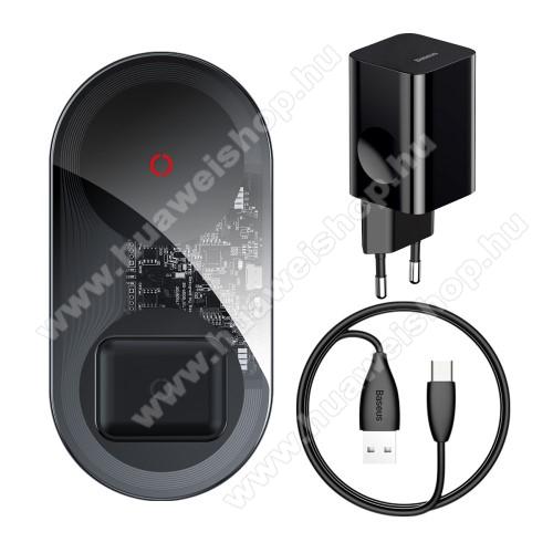 BASEUS asztali töltő / dokkoló + Hálózati töltő 2 az 1-ben - QI Wireless vezetéknélküli töltő funkció, 24W, 2 tekercses, egyszerre két készülék tölthető vele, fogadóegység nélkül!, hálózati töltővel + Type-C kábel - FEKETE - BS-W508 - GYÁRI
