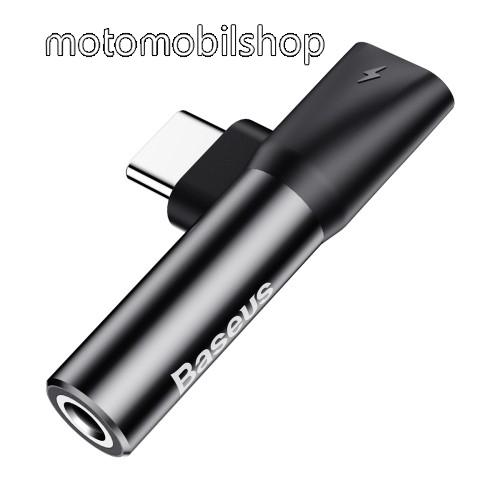 BASEUS audio adapter - Type C / 3,5mm Jack + Type C töltő aljzattal - FEKETE - GYÁRI