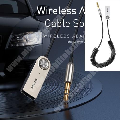 HomTom HT7 BASEUS BA01 Bluetooth audio transmitter - 3,5mm jack csatlakozó, V5.0, beépített mikrofon - FEKETE - GYÁRI