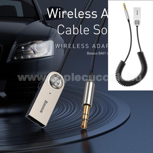 APPLE iPad 2BASEUS BA01 Bluetooth audio transmitter - 3,5mm jack csatlakozó, V5.0, beépített mikrofon - FEKETE - GYÁRI