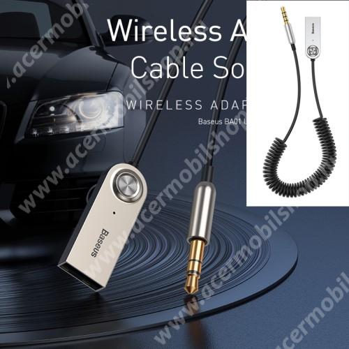 ACER Iconia Tab A200 BASEUS BA01 Bluetooth audio transmitter - 3,5mm jack csatlakozó, V5.0, beépített mikrofon - FEKETE - GYÁRI