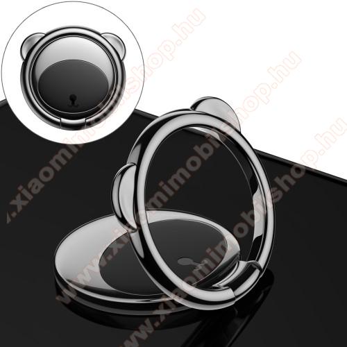 Xiaomi MI Note ProBASEUS Bear Shape ujjtámasz, gyűrű tartó - Biztos fogás készülékéhez, maci formájú, asztali tartó funkció, 360°-ban forgatható, tapadófelület mágneses autós tartóhoz - FEKETE - GYÁRI