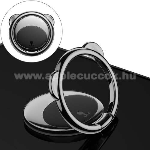 BASEUS Bear Shape ujjtámasz, gyűrű tartó - Biztos fogás készülékéhez, maci formájú, asztali tartó funkció, 360°-ban forgatható, tapadófelület mágneses autós tartóhoz - FEKETE - GYÁRI