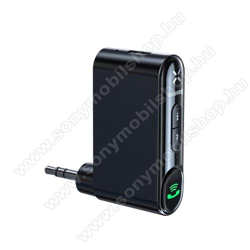 SONY Xperia M DUALBASEUS bluetooth audio transmitter - v5.0, audio vevő, 3,5mm jack csatlakozó, beépített 145mAh akkumulátor, felevő gomb - FEKETE - GYÁRI