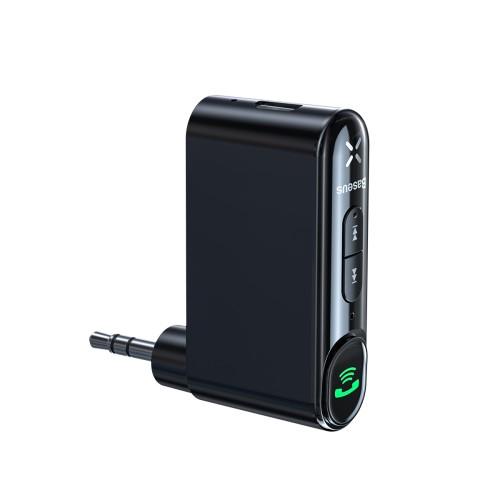 BASEUS bluetooth audio transmitter - v5.0, audio vevő, 3,5mm jack csatlakozó, beépített 145mAh akkumulátor, felevő gomb - FEKETE - GYÁRI