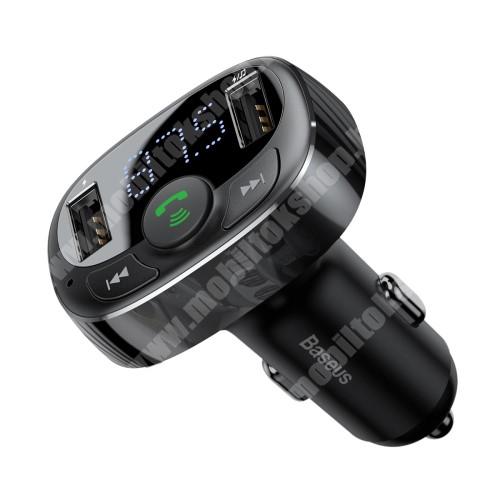 HTC Hero BASEUS BLUETOOTH kihangosító szett - V4.2, szivartöltőbe tehető, FM transmitterrel csatlakozik autórádióra, beépített mikrofon, EXTRA USB töltő aljzatok, 5V/3.4A (max) - FEKETE - GYÁRI