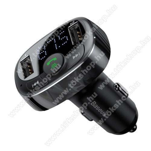 BASEUS BLUETOOTH kihangosító szett - V4.2, szivartöltőbe tehető, FM transmitterrel csatlakozik autórádióra, beépített mikrofon, EXTRA USB töltő aljzatok, 5V/3.4A (max) - FEKETE - GYÁRI