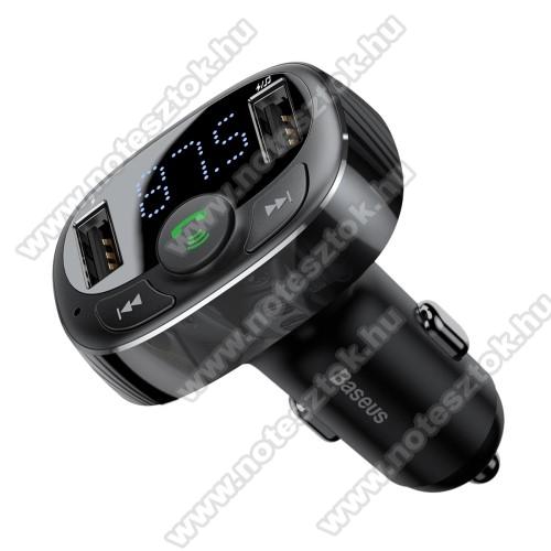 SAMSUNG SM-G770F Galaxy S10 LiteBASEUS BLUETOOTH kihangosító szett - V4.2, szivartöltőbe tehető, FM transmitterrel csatlakozik autórádióra, beépített mikrofon, EXTRA USB töltő aljzatok, 5V/3.4A (max) - FEKETE - GYÁRI