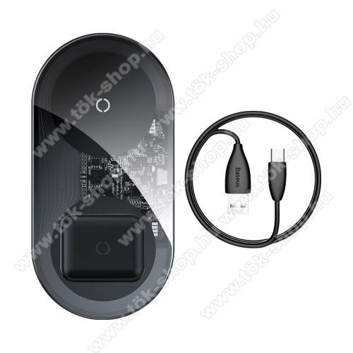 BASEUS BS-W508 asztali töltő / dokkoló - QI Wireless vezetéknélküli töltő funkció, 15W, 2 tekercses, egyszerre két készülék tölthető vele, USB / Type-C kábellel, Apple Airpods kompatibilis - FEKETE - GYÁRI